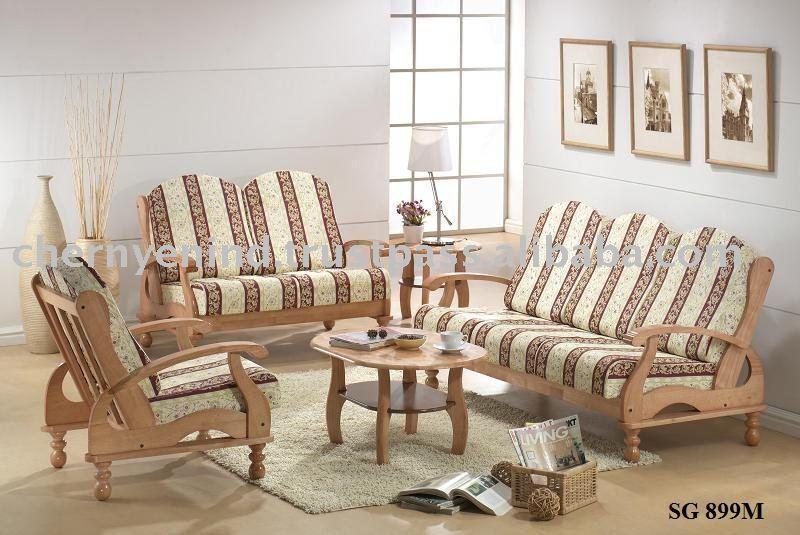 Sof sof s conjunto de sof sof de madeira sof da for Sala de estar de madera