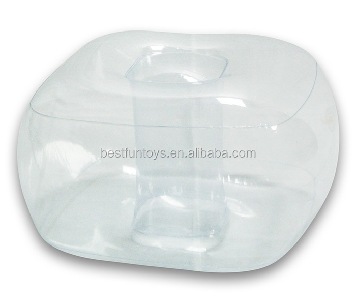 Inflatable Sofa Clear: Transparent Inflatable Ottoman Plastic Foldable Foot Leg