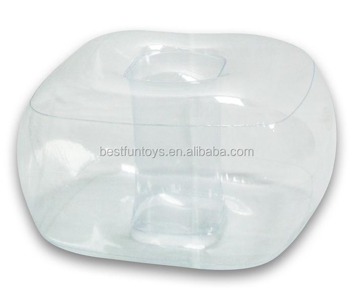 Transparent Inflatable Ottoman Plastic Foldable Foot Leg