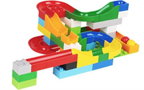 Marble Run Building Construction Blocks Toy Set, Puzzle Race Rail Track and Crazy Ball - 48 Pieces Set