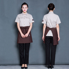 Fashionable hotel restaurant waiter and waitress uniform design jacket Shirt and apron