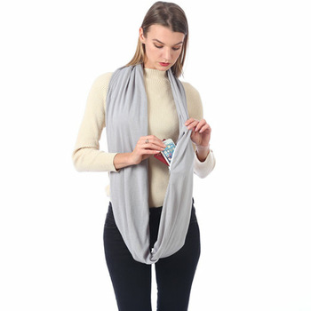Wholesale Storage Jersey Plain Wrap Infinity Scarf With Zipper Pocket Custom Logo Circle Infinity Scarf For Women