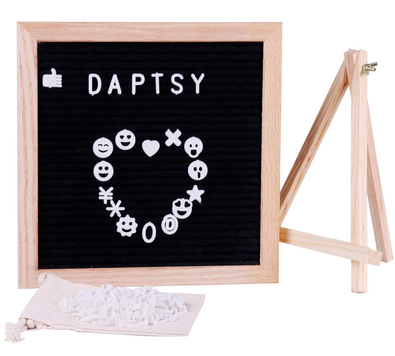 Changeable Felt Letter Board 10x10 inches with 340 White Plastic Letters, Numbers & Symbols, Oak Wood Frame, Metal Hanger, Wooden Tripod Stand, Stainless Steel Folding Scissors, Canvas Bag