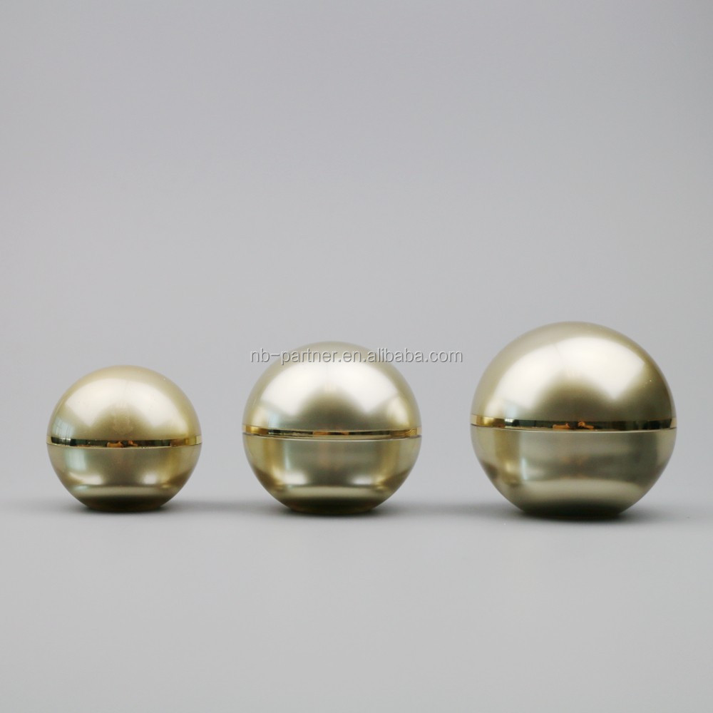 High Quality ball shaped Acrylic Jar with gold lid 15g