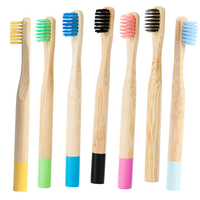 Biodegradable Round handle Baby Bamboo toothbrush with FDA certificate