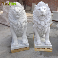 Handmade white marble lion sculpture statue