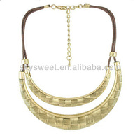 Gold Metal Crew Necklace, cotton cord necklace style for women(SWTN1325)