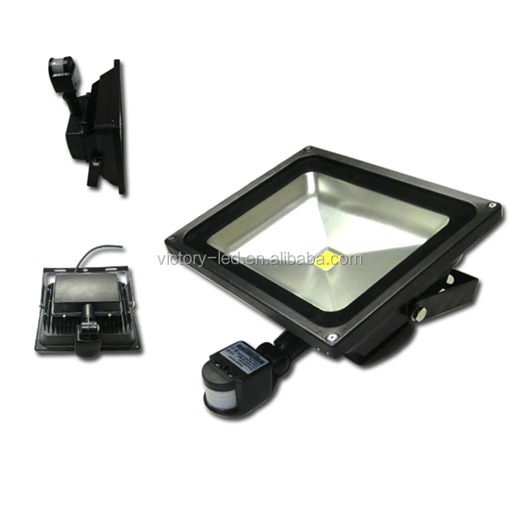 NEW Outdoor White Silver Case 50W Low Energy LED PIR Sensor Security Flood Light