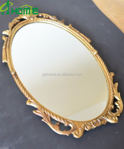 curved shaped wood frame vanity wall mirror in gold finish