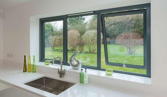 Goedkope wind slip aluminium luifel glazen venster voor keuken