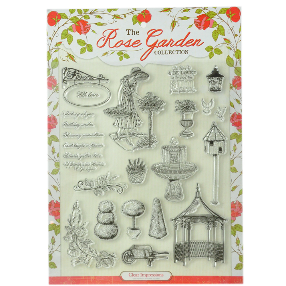 18pcs rose garden collection magazine promotional clear stamps