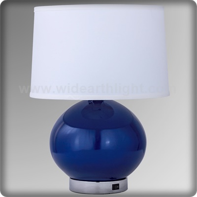 UL CUL Listed Modern White Fabric Shade Bedside Table Lamp With Switch In Painted Blue Finish T20381