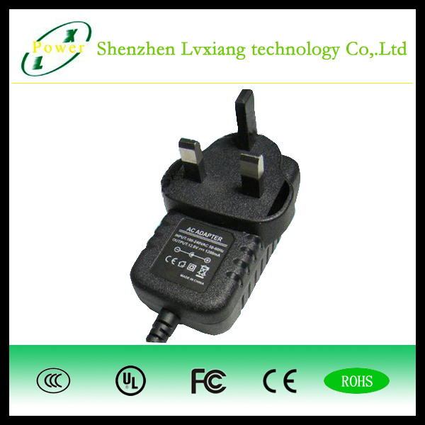 5V3A switching power adapter with CE,ROHS,SAA,UL,BS certifications