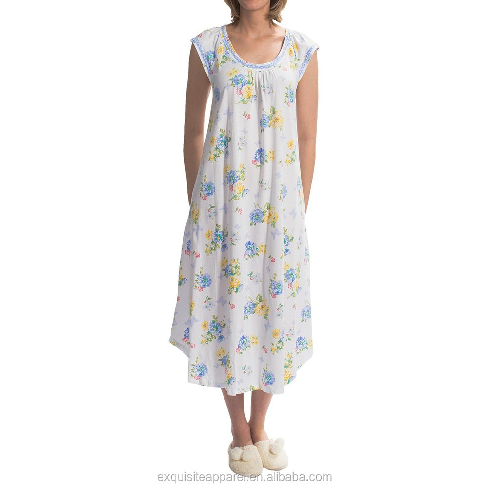 Custom 100% Cotton Nighty Wholesale Cotton Nightgown Night Gown with Pattern 5e0ced90b
