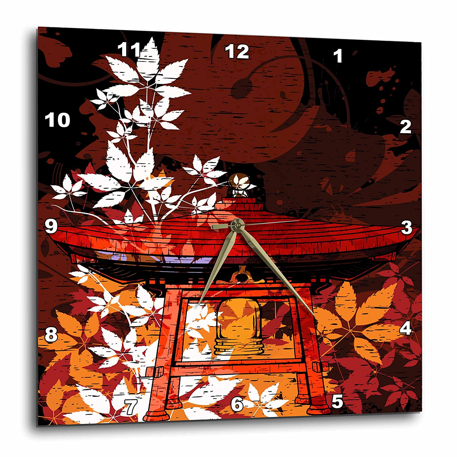 3dRose dpp_116381_2 Pretty Ornate Japanese Bell Gong Decorated with Foliage Asian Oriental Art-Wall Clock, 13 by 13-Inch