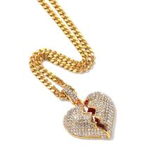 Fashion Hiphop Jewelry Hot Selling 18k Gold Plated Iced Out Full Diamond Stainless Steel Broken Heart Pendant Necklace for Lover
