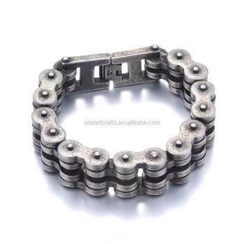 Hot Clic Men Bracelet Stainless Steel Antique Biker Bracelets Designs