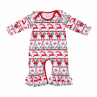 High quality toddler newborn girls infant long sleeves ruffle romper Jon Jon baby christmas clothes