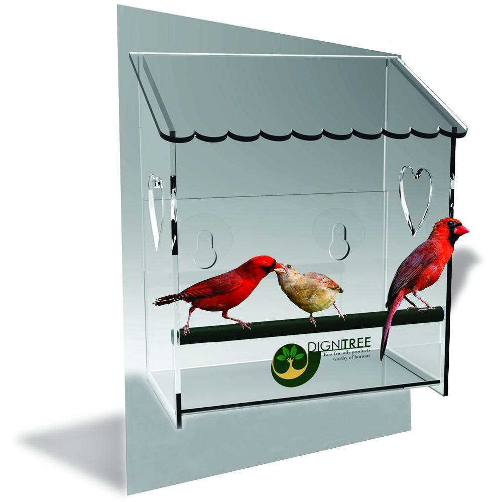 Marvelous Acrylic Pet Feeding Case Acrylic Birds Feeder Case Unique Window Bird Feeder,  See Through, Watch Wild Birds Up Close