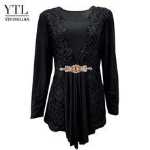 Женская блузка YTL размера плюс, элегантная Кружевная туника с бриллиантами, повседневные винтажные топы с длинными рукавами, рубашка красно...(Китай)