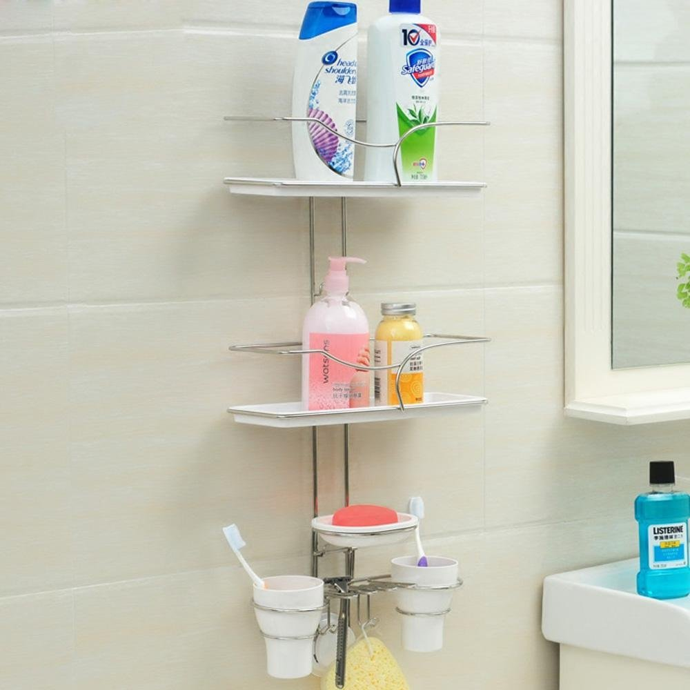 SSBY Suction Cup Racks, Wall Mount Bathroom Corner Shelves, Stainless Steel  Multi Layer