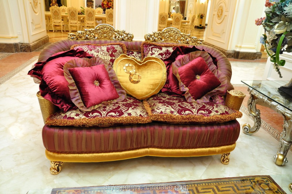 Artluxury French Baroque Style Golden Living Room Sofa Set - Golden living room