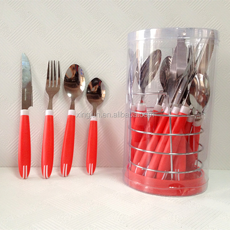 Red Handle Cutlery Set In Stand Spoon And Fork