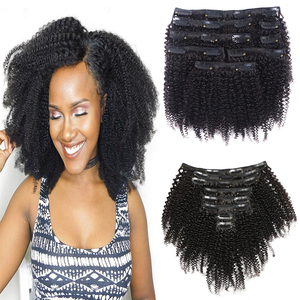 Afro kinky Curly Clip In Human Hair Extensions Natural Color Kinky Straight Remy Hair Clip In Extensions