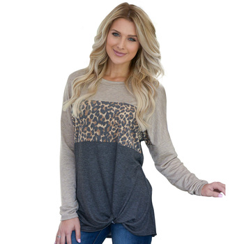 Ladies Long Sleeves Blouses Tops Tunic Knotted Leopard Print Loose Blouse For Women T-shirt YY10273