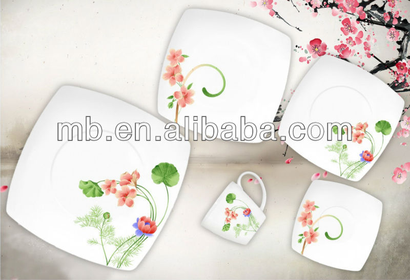square shape 20pcs elegent porcelain dinner ware with FDA/ BSCI Certificates