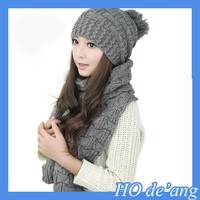 HOGIFT Factory cheap lovely winter knitted scarves and hats suits