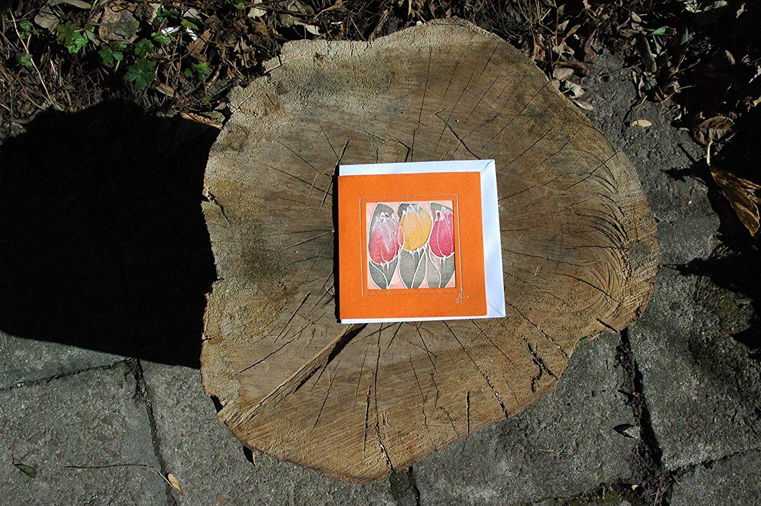 Sale!!!20% Off,Orange Tulips Card, Silk Painting Greetings Card, Tulip Gift Flower Card, Blank Card, Tulip Mother's Day, Mom day, Happy Birthday card, Tulip Card.