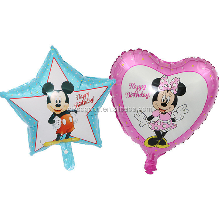 New Style Birthday Party Balloon Pentagram Shaped Mickey Heart-shaped Minnie 18 Inch Mickey Mouse Foil Balloon For Baby Gift