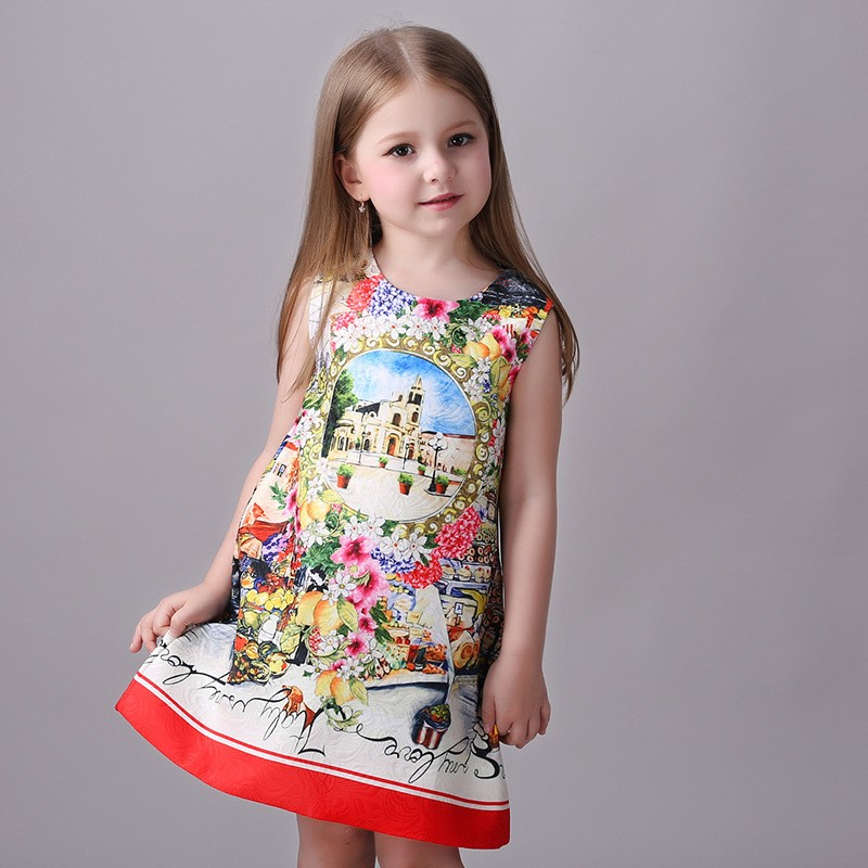 Children modern gril summer dress western printed dress for baby girls 86219