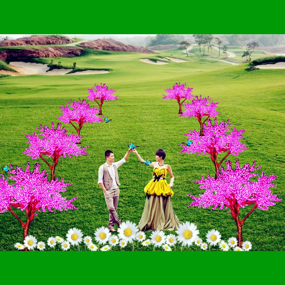 Nieuwste romantische outdoor led stadium decoratie kunstmatige cherry bloem boom licht voor - Nachtclub decoratie ...
