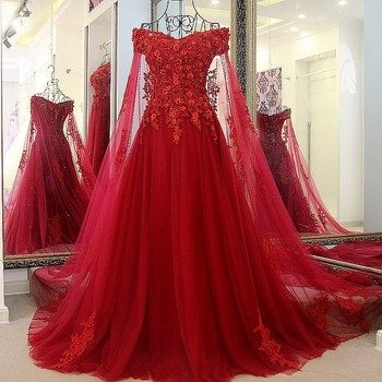 High Quality Lace Flowers Evening Dresses French Tulle Ball Gown Corset Lace Up Back Long Red Prom Dress Evening Gown