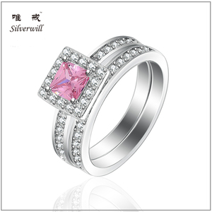 Square pink elegant ladies wholesale silver cz rings in sterling 925 silver