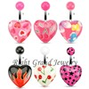 Acrylic Heart Pattern Print Mistletoe Belly Button Ring