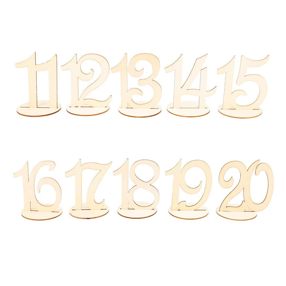 Raleighsee 10 Pack (1-10) / 20 Pack (1-20) Wedding Wood Table Numbers/Letters Cards Party Seat Card Holder Banquet Reception and Flower Decoration(H04)