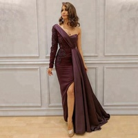2020 Elegant One Shoulder Evening Dresses Party Gown Split Side Prom Dress Long Sleeves Formal Dress