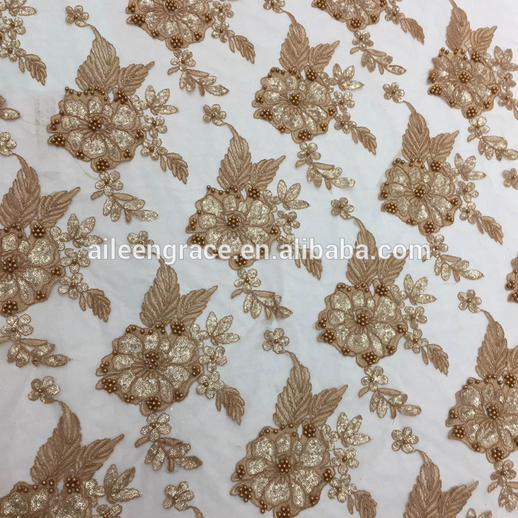 China supplier embroidery flowers beaded french lace fabric with sequins