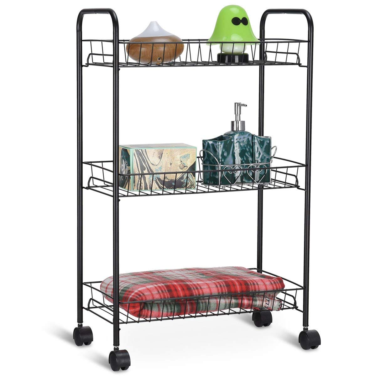 Giantex Kitchen Metal Utility Cart Rolling Wheels Shelving Tower Rack Mesh Wire Baskets Multifunctional Bathroom Kitchen Storage Unit Carts and Islands, Black (3 Tier)