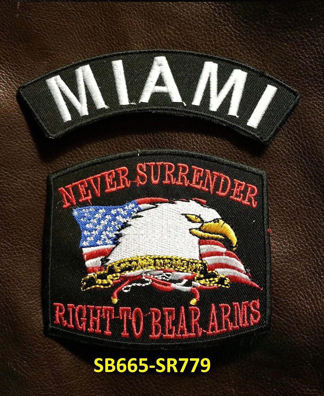 MIAMI and NEVER SURRENDER Small Badges Set for Biker Vest
