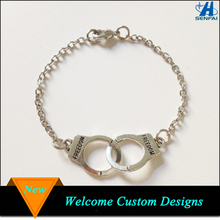 Antique Silver Partner in Crime Latest Handcuff Friendship Bracelet For Gift