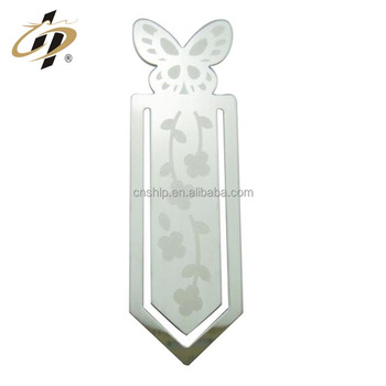 Promotional gift custom stainless steel emboss logo metal bookmark