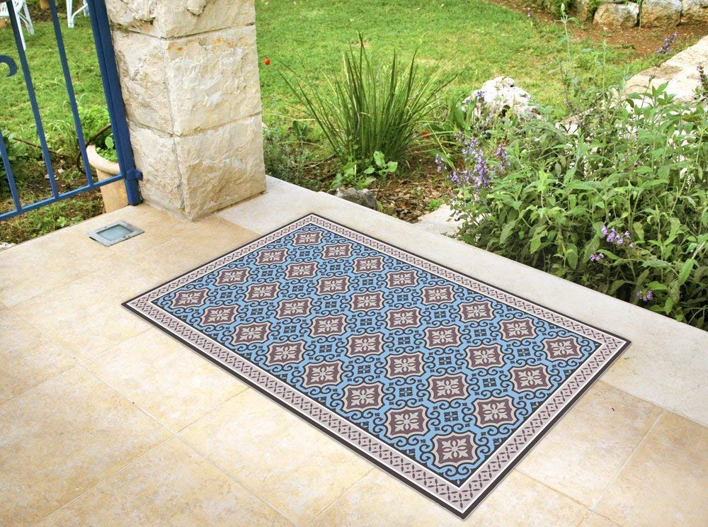 Vinyl Floor Mat With Blue Tiles Area Rug Linoleum Style Kitchen