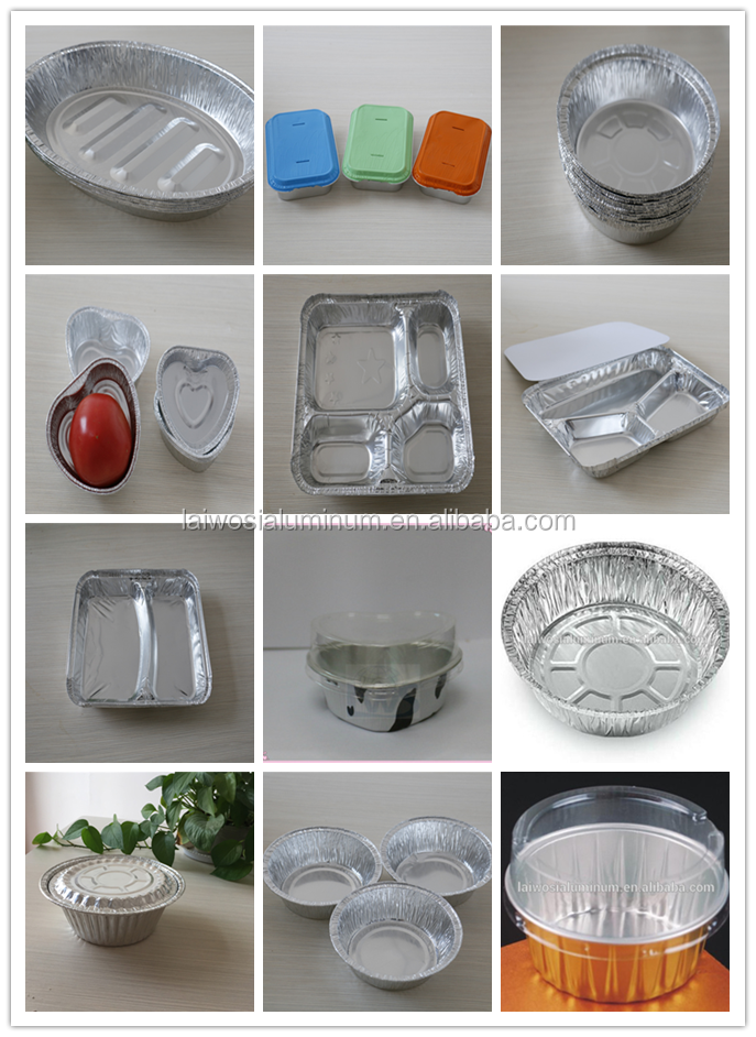 Round shape disposable deep aluminium foil bowl container for Cuisine aluminium