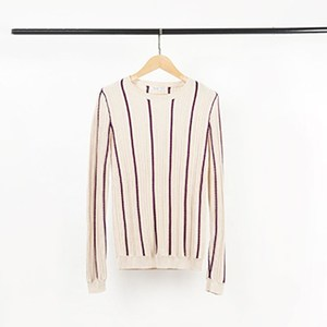 Wool pullover sweater for women of striped design
