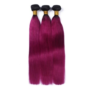 Charming Two Tone 1b/purple Hair Weft 100% Indian Virgin Remy Colored Hair Extensions