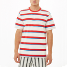Man custom cheapt-shirt short sleeve white red stripe t shirt for men